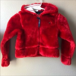 Fuzzy TeddyBear Red silver zip up hoodie coat 6